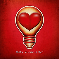 Vintage lightbulb - heart.