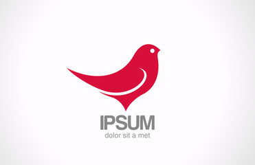 Logo Bird Sitting abstract vector design. Red sparrow