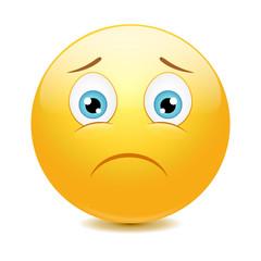 Sad emoticon, vector illustration