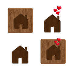 House icon with red hearts