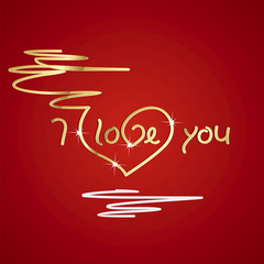 I love you gold red background vector