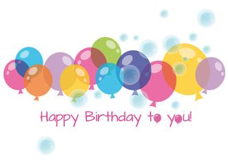 happy birthday, balloons on white background