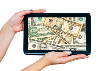 woman hands with tablet