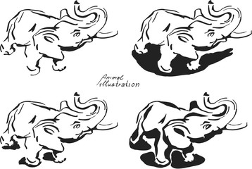 4 elephant, black and white illustration