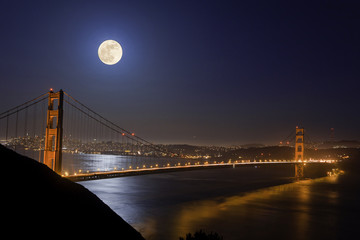 Super Moon Visiting Golden Gate Bridge