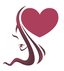 lovely beauty, vector image of girl face and big heart
