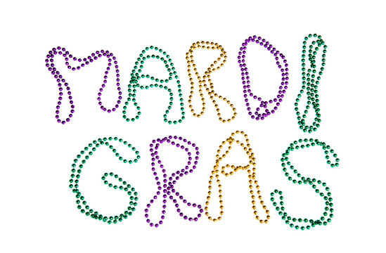 Mardi Gras beads text on white background