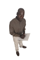 young black African man in studio on a white background