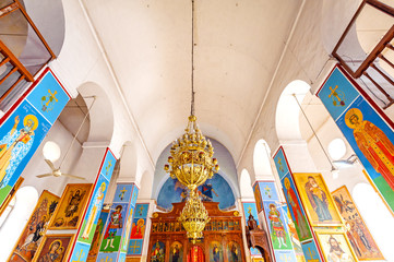 Interior and ceiling of St. George's Church in Madaba, Jordan