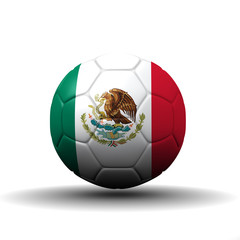 United Mexican States flag textured on soccer ball , clipping pa