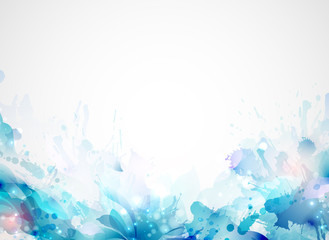 blue abstract background forming by blots and design elements