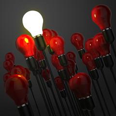 creative idea leadership concept with 3d light bulb