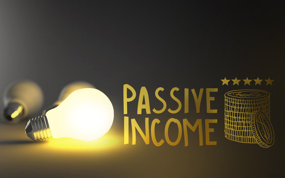 light bulb 3d and hand drawn passive income as concept