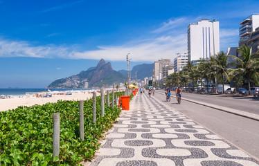 Ipanema beach with mosaic of sidewalk in Rio de Janeiro