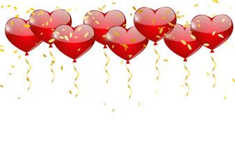 Heart balloons border for Your design