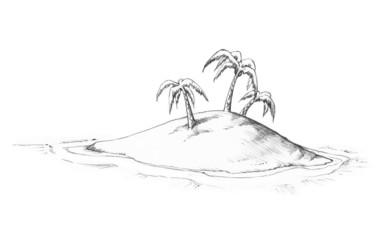 Gezeichnete einsame Insel
