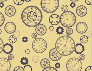 Vintage Clocks Background and EPS Pattern