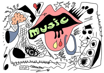 Doodle music background, hand drawn