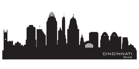 Wall Mural - Cincinnati Ohio city skyline vector silhouette