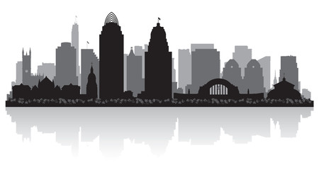 Fototapete - Cincinnati Ohio city skyline silhouette