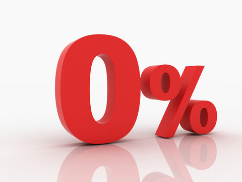 3d rendering of a zero percent discount in red letters on a whit