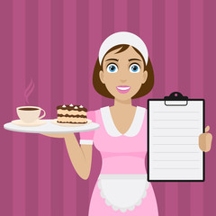 Girl holds tray with dessert and menu