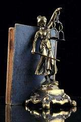 Justice Lady and old book. Lawyer background