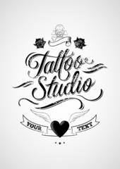 Tattoo Studio. Vintage typographic design elements.