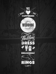 Set of wedding vintage typographic design elements