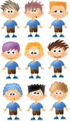 Набор мультфильм смешной мальчиков с эмоциями