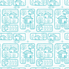 Vector doodle town streets seamless pattern background with hand