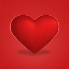 Red heart illustration isolated on red background.
