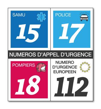 Affiche numéros d'appel d'urgence.
