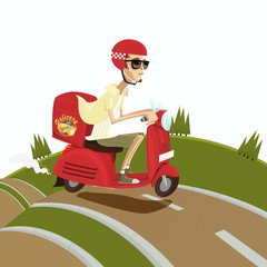 Food and drink delivery man riding red scooter