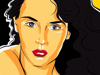 belle femme brune portrait croquis couleur
