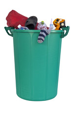 green plastic recycle bin full smell dirt environment