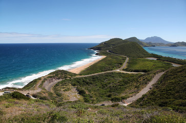 Panoramic view to Saint Kitts and Nevis islands