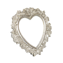 Old silver heart picture frame with clipping path
