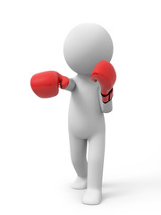 3d people with red boxing gloves. Boxer