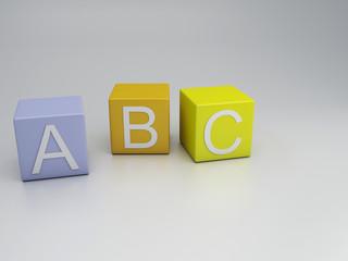 Blocks ABC letters, 3d render
