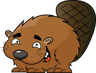 Happy Cartoon Beaver