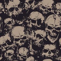Grunge skulls seamless