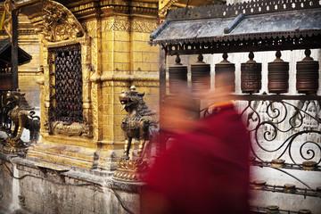 Buddhist monks in Swayambhunath, Kathmandu, Nepal