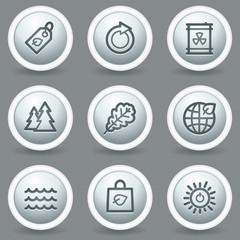 Ecology web icons set 3, circle grey matt buttons