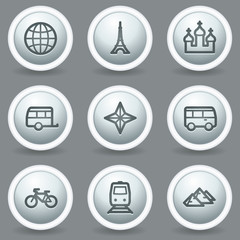 Travel web icons set 2, circle grey matt buttons