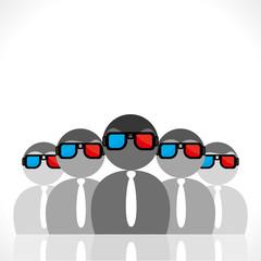 people wear 3-d movie glasses vector