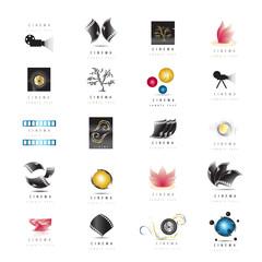Cinema Icons Set - Isolated On White Background