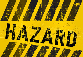 hazard Warning sign, worn and grungy, vector scalable eps 10