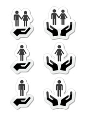 Man, woman and couples with hands icons set