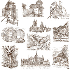 Architecture around the World (no.9) - hand drawings on white
